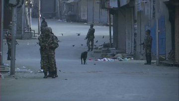 Security was tightened in Srinagar in view of  imposition of Section 144 from Sunday midnight. Pic: ANI
