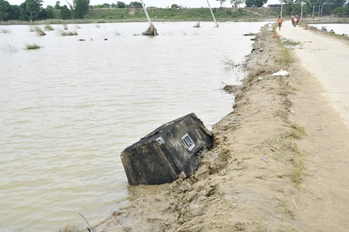 Magan Mandal's speaker was found submerged in water. Pic: Abhishek Verma